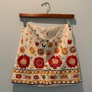 Topshop Embroidered Mini Skirt NWOT
